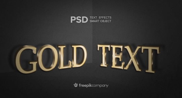 暗い背景にゴールドのテキスト効果 無料 Psd