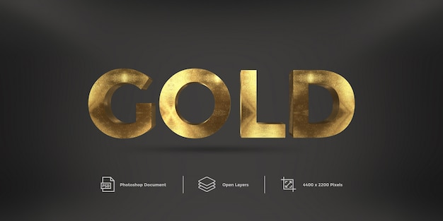 Gold text effect  style effect Premium Psd