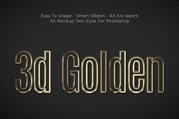 Golden 3d text style effect Free Psd