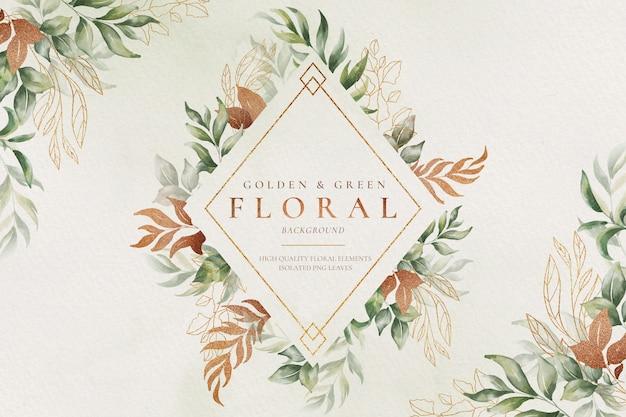 수채화 자연과 황금과 녹색 꽃 배경 무료 PSD 파일