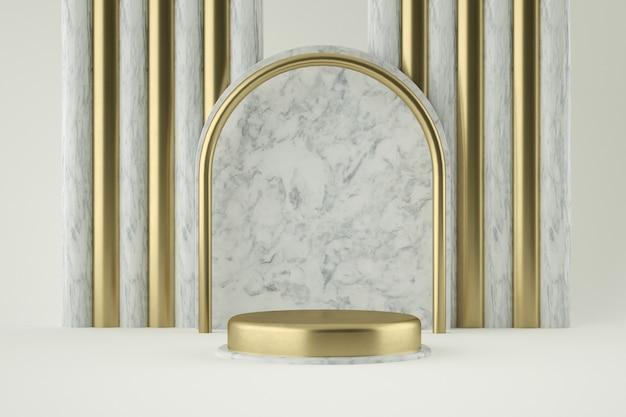 Золотой и мраморный подиум для презентации продукта Premium Psd
