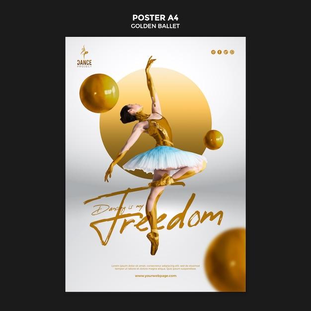 Золотой балетный плакат шаблон Бесплатные Psd