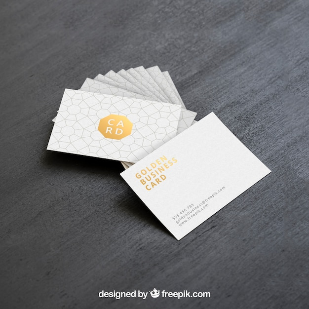 Golden business card mock up Free Psd
