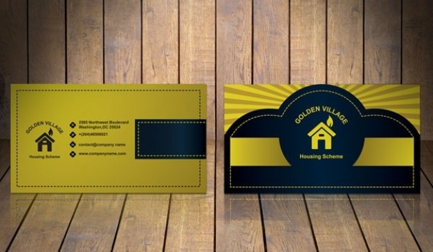 Golden business card template Free Psd