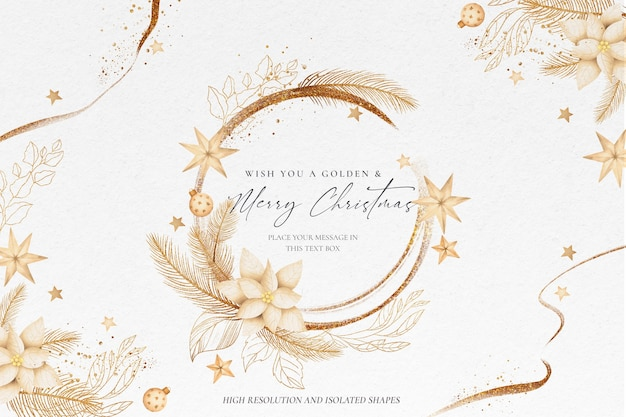 Golden christmas background with beautiful ornaments Free Psd