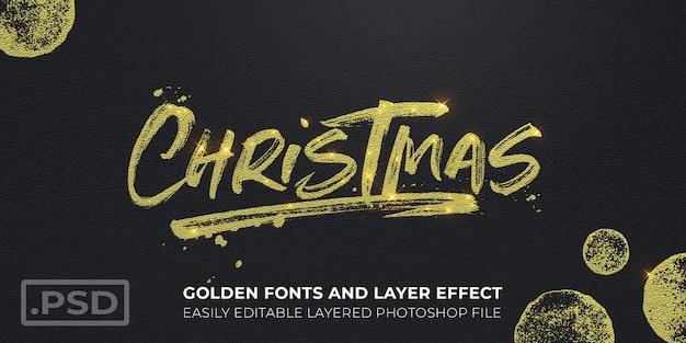 ゴールデンクリスマステキストスタイル効果モックアップカード Premium Psd