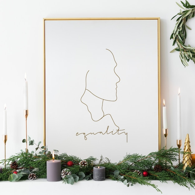 Golden equality frame by taper candles Free Psd