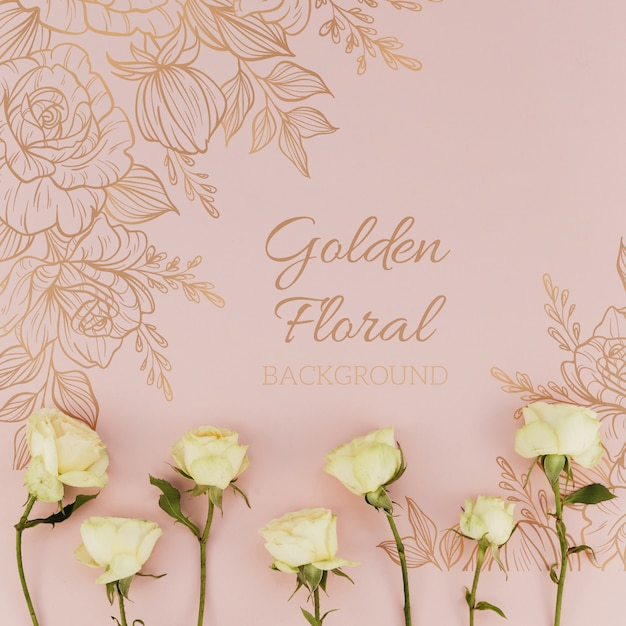 Golden floral background with roses Free Psd