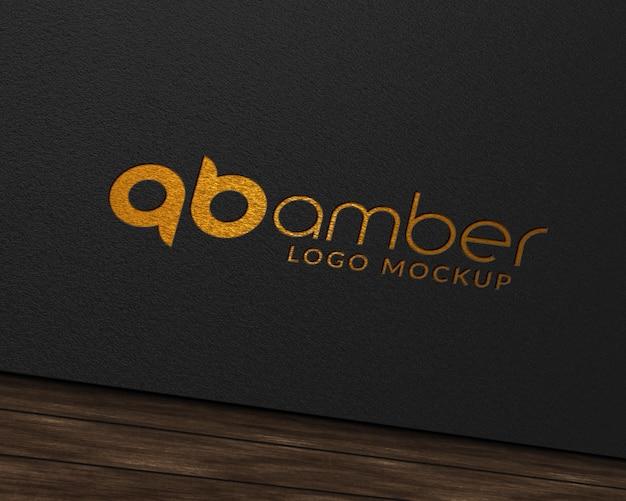 Golden foil paper logo mockup Premium Psd