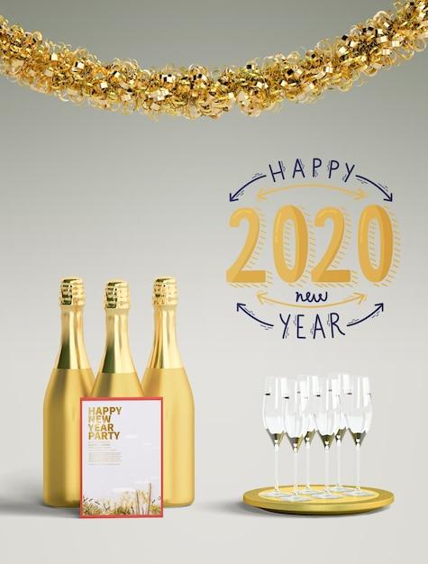 황금 새해 복 많이 받으세요 2020 개념 무료 PSD 파일