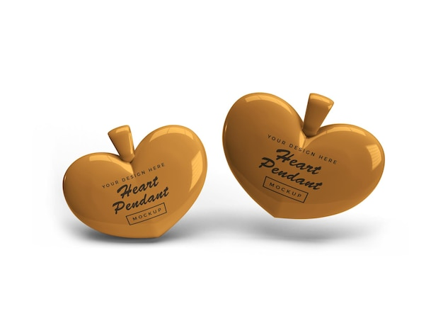 Golden heart pendant mockup design isolated Premium Psd