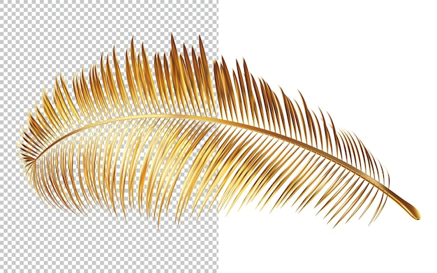 야자수의 황금 잎 격리 된 3d 렌더링 프리미엄 PSD 파일