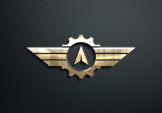 Золотой логотип макет Premium Psd