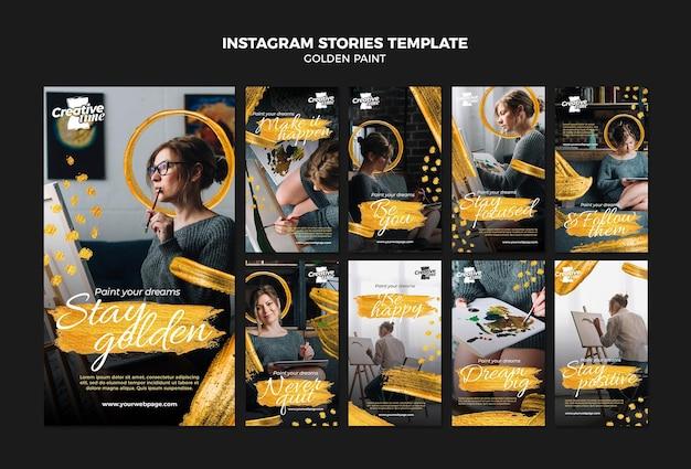 Golden paint instagram stories template Free Psd
