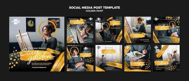 Шаблон сообщения в социальных сетях золотой краской Бесплатные Psd