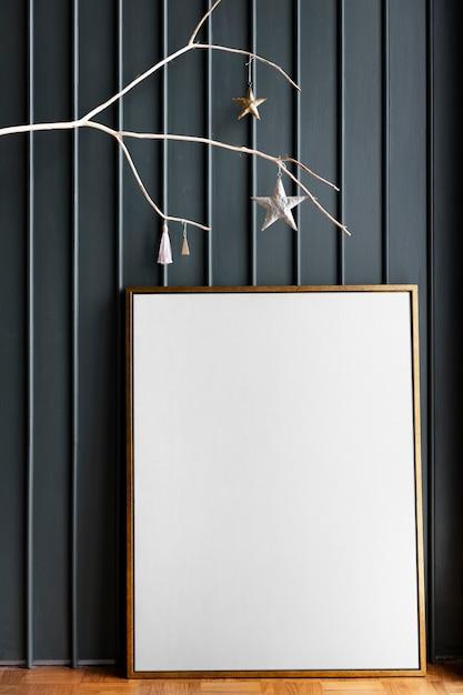 Golden photo frame on the floor Free Psd