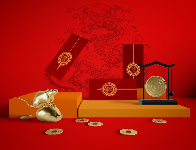 Golden rat and new year greeting cards on red background Free Psd
