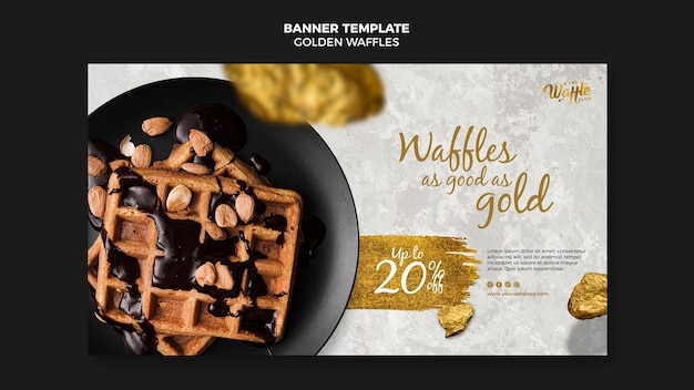 Golden waffles with chocolate and nuts banner Free Psd