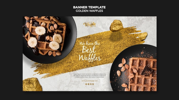 Golden waffles with nuts banner template Free Psd