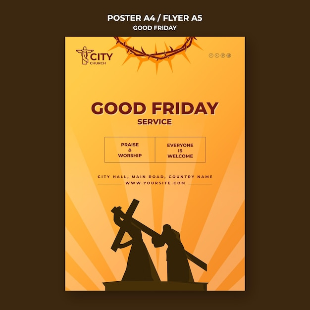Good friday poster template Premium Psd