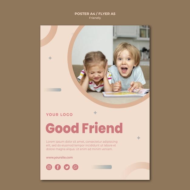 Шаблон для печати флаера хорошего друга Бесплатные Psd
