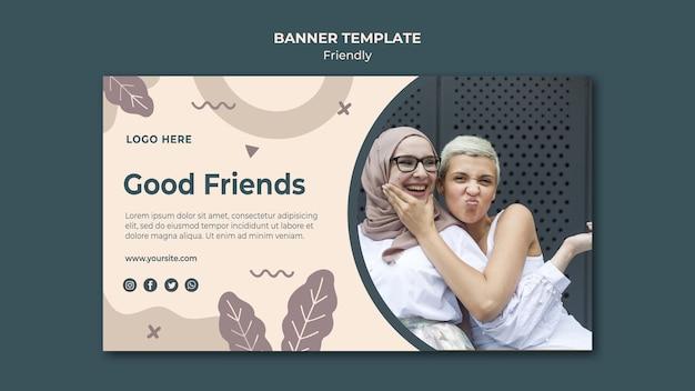 Хорошие друзья баннер веб-шаблон Бесплатные Psd