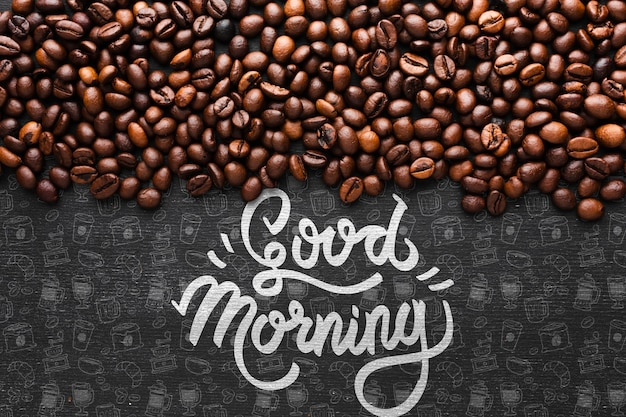 Good morning background with coffee beans Free Psd