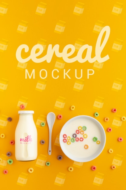 Good morning breakfast with cereals and milk Free Psd