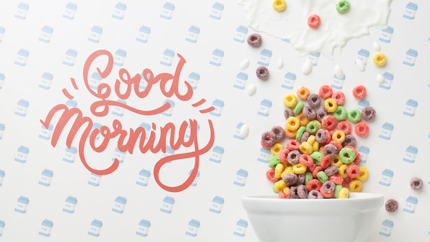 Good morning message along bowl with cereals Free Psd