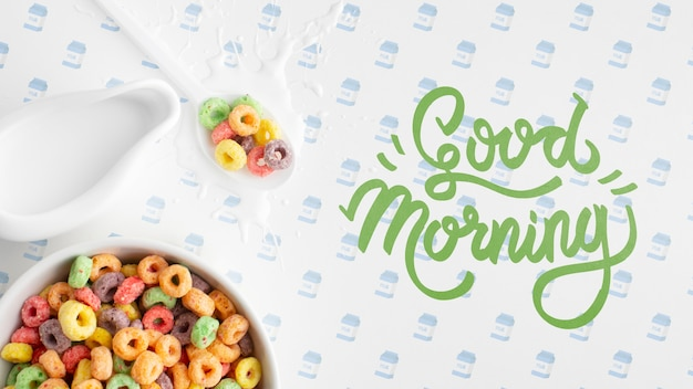 Good morning message beside cereals for breakfast Free Psd