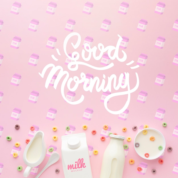 Good morning message on table and milk with cereals Free Psd
