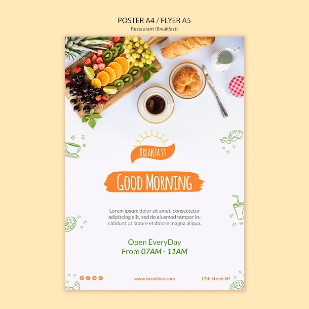 Good morning restaurant poster template Free Psd