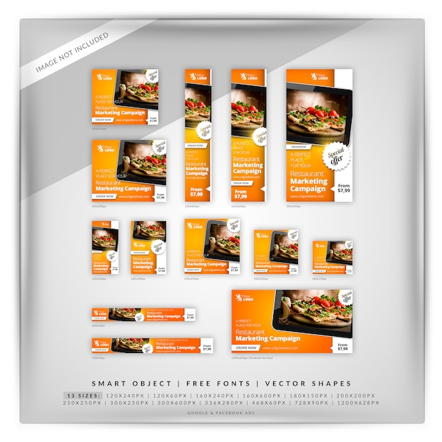 Еда & ресторан набор google banner Premium Psd