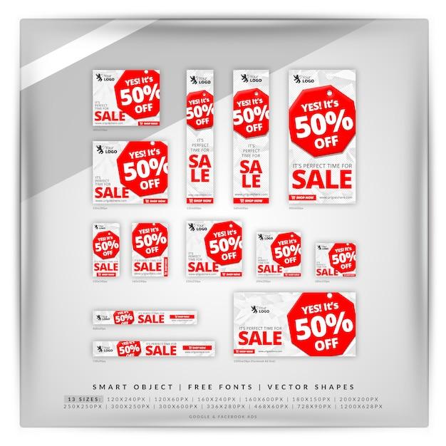 Остановить продажа google баннер set Premium Psd