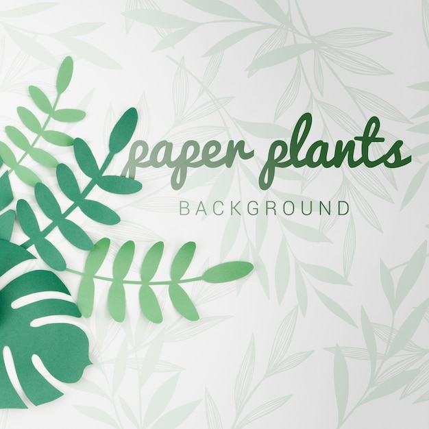 Gradient green tones paper plants background with shadows Free Psd