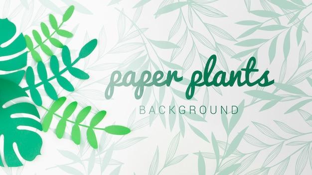 Priorità bassa delle piante di carta di toni verdi di gradiente Psd Gratuite