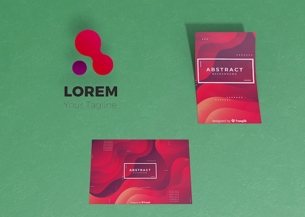 Gradient liquid effect of flyer and card brand company business mock-up paper Free Psd