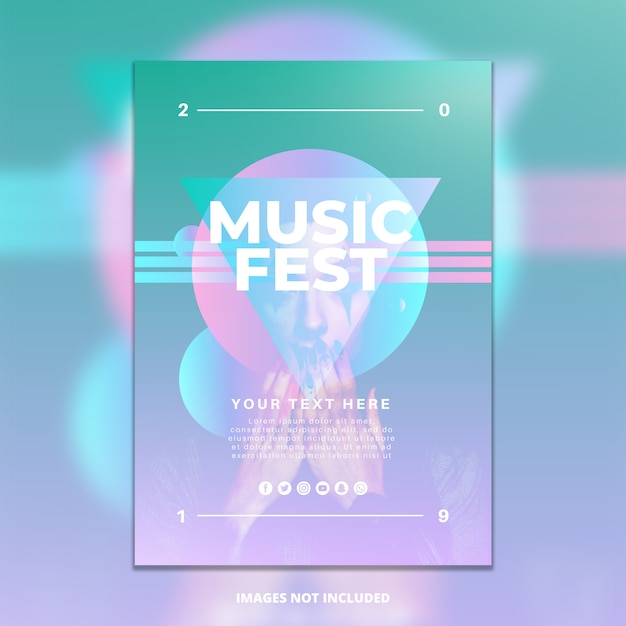 Gradient music festival poster template Free Psd