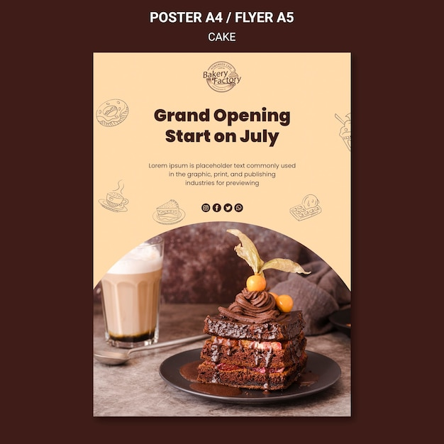 Grand opening cake factory poster template Free Psd