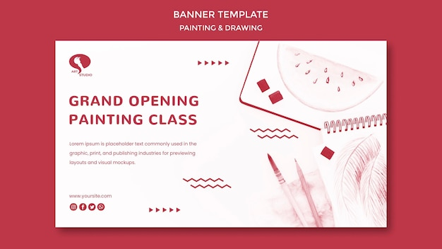 Grand opening drawing and painting banner template Free Psd