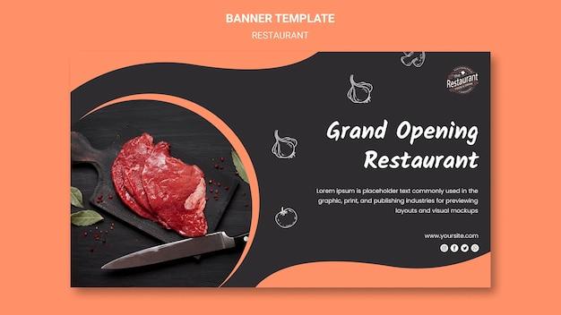 Grand opening restaurant banner template Free Psd