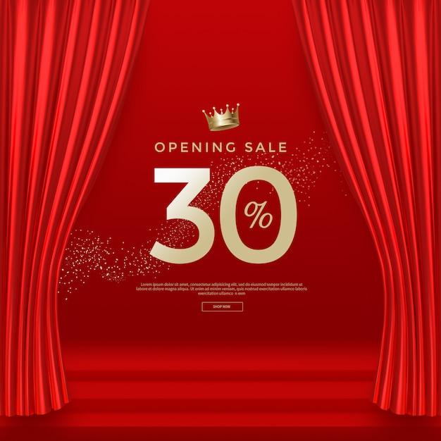 Торжественное открытие баннер шаблон с роскошными красными шелковыми бархатными шторами. Premium Psd