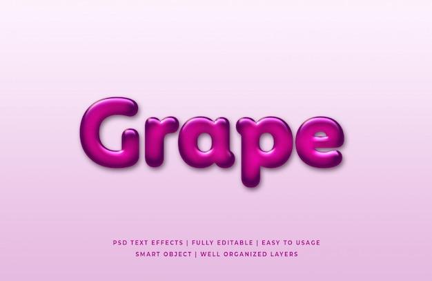 Grape 3d text style effect premium psd Premium Psd
