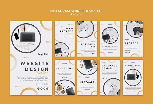 Шаблон историй графического дизайна instagram Бесплатные Psd