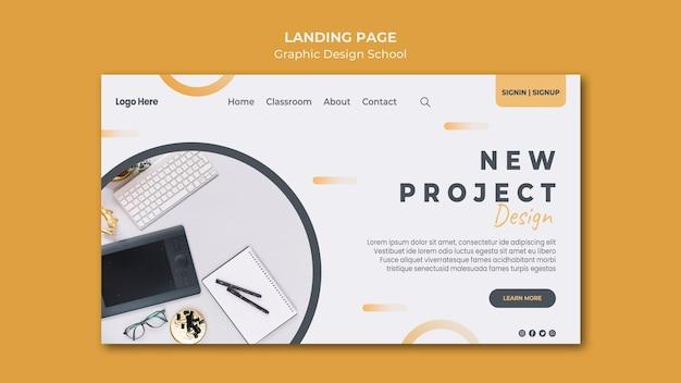 Modello di pagina di destinazione del design grafico Psd Gratuite