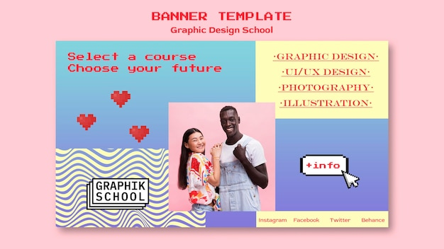 Graphic design school banner Free Psd