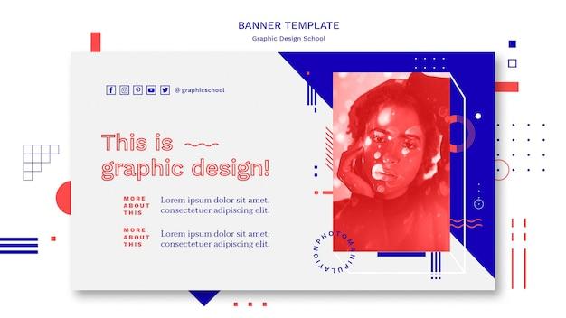 Modello di banner di concetto di scuola di design grafico Psd Gratuite