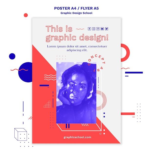 그래픽 디자인 학교 개념 포스터 템플릿 무료 PSD 파일