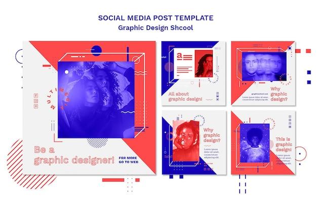 Modello di post di social media di concetto di scuola di design grafico Psd Gratuite