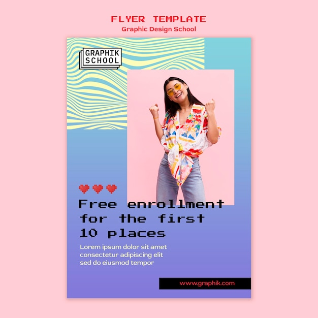Graphic design school flyer with photo Free Psd